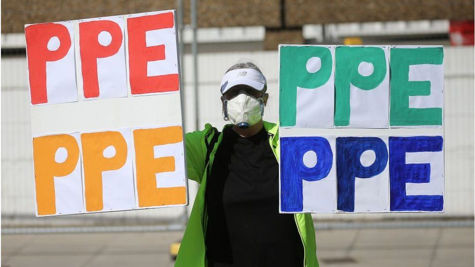 PPE protestor
