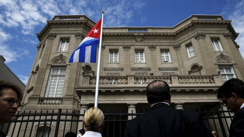 The Cuban flag flutters at the Cuban Embassy in Washington on 20 July, 2015.