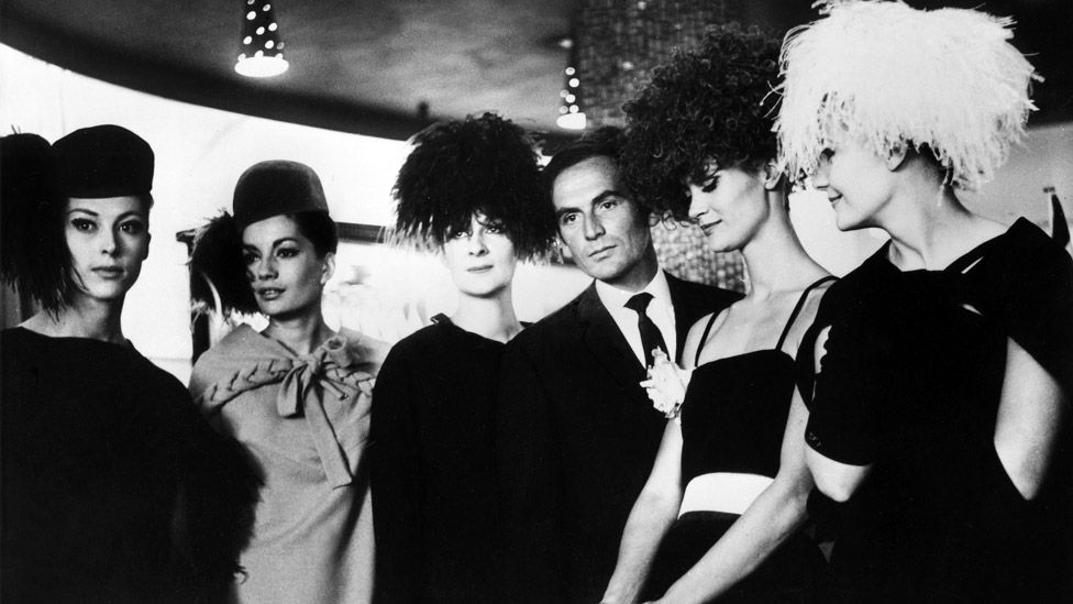 Cardin with models in 1962