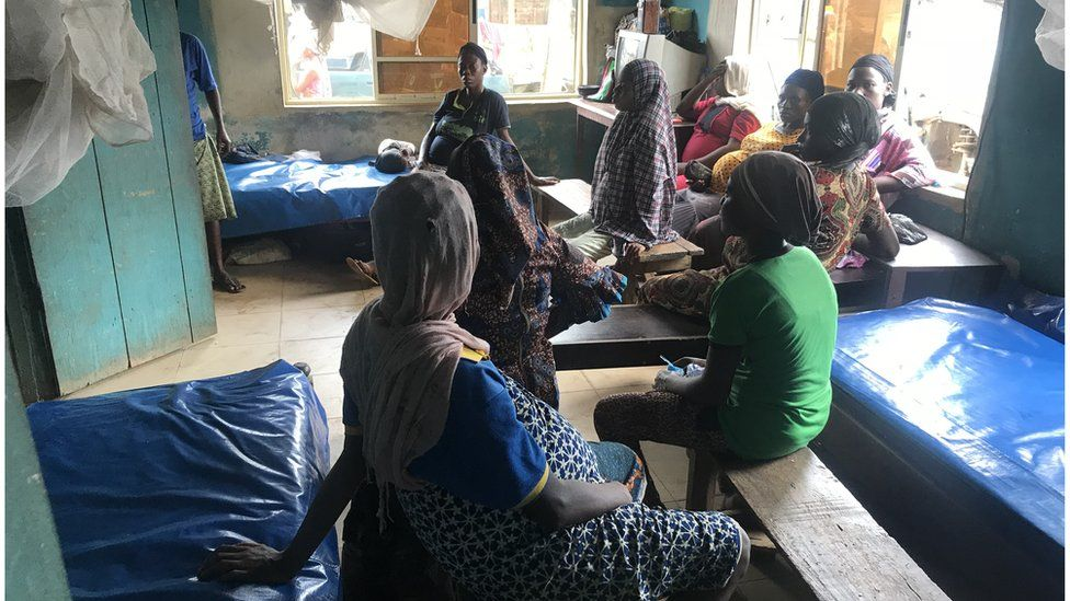 Women sitting in a traditional birthing clinic