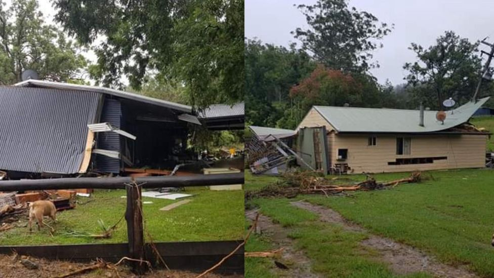 A split image of the flood debris and wreckage of the two Costigan houses