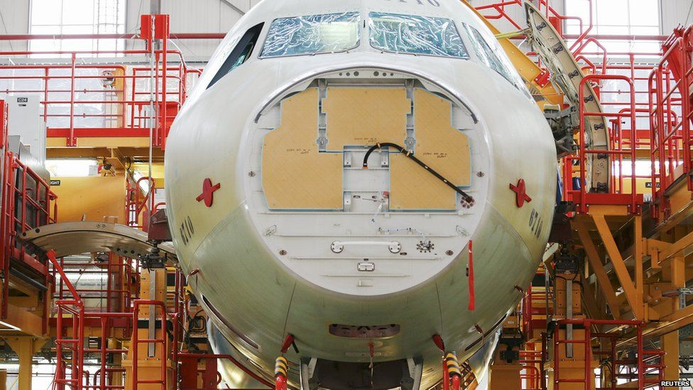 A plane being built at the Airbus factory in Tianjin