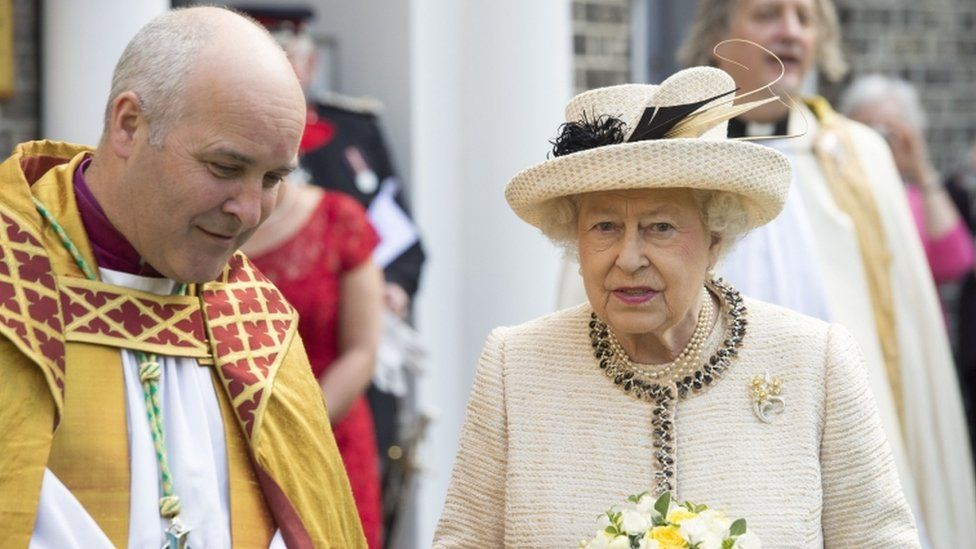 The Right Reverend Stephen Cottrell and Queen Elizabeth II during her visit to Chelmsford's cathedral church of St Mary the Virgin, St Peter and St Cedd in Essex