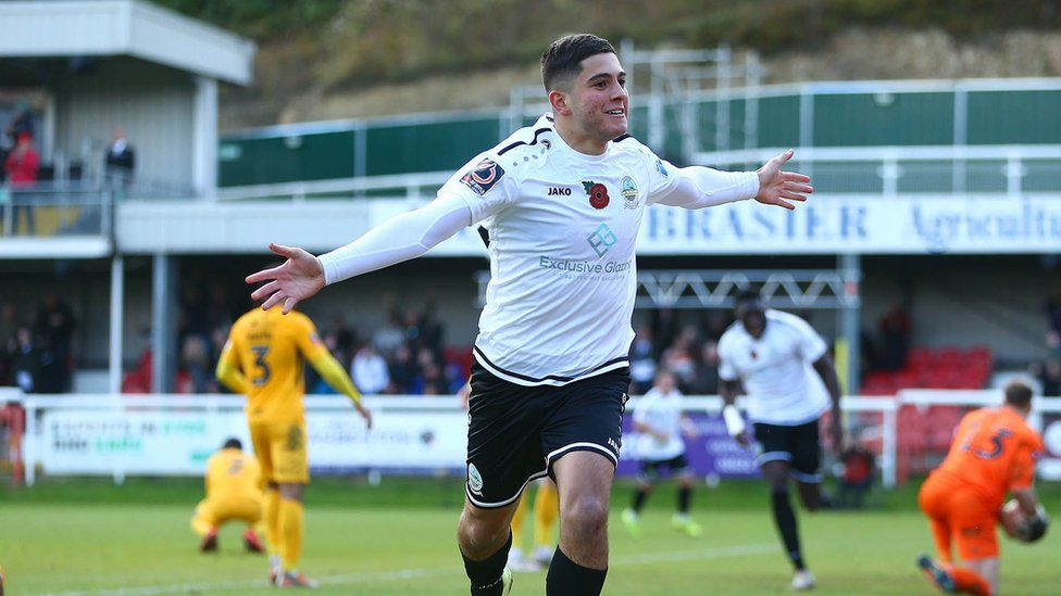 Ruel Sotiriou of Dover Athletic celebrates after scoring
