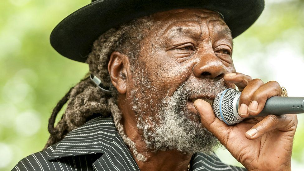 Jamaican Reggae singer and dubmaster U-Roy (born Ewart Beckford) performs (with the Love Trio) at Central Park, New York, 6 July 2008