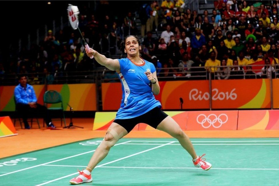 "Saina Nehwal of India in action against Lohaynny Vicente of Brazil during their women""s singles group stage game of the Rio 2016 Olympic Games Badminton events at the Riocentro in Rio de Janeiro, Brazil, 11 August 2016."