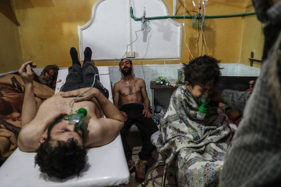 Victims of an Alleged Gas Attack Receive Treatment in Eastern Ghouta