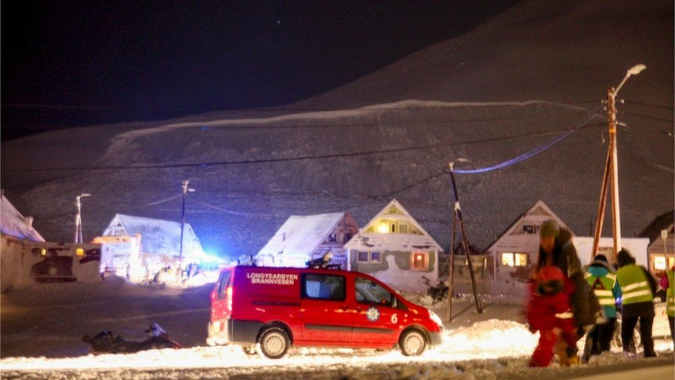 Emergency vehicle and workers in Longyearbyen after avalanche, Svalbard, 19 December 2015