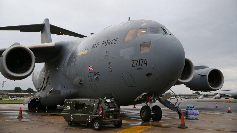 RAF C-17 Globemaster III being loaded at Brize Norton