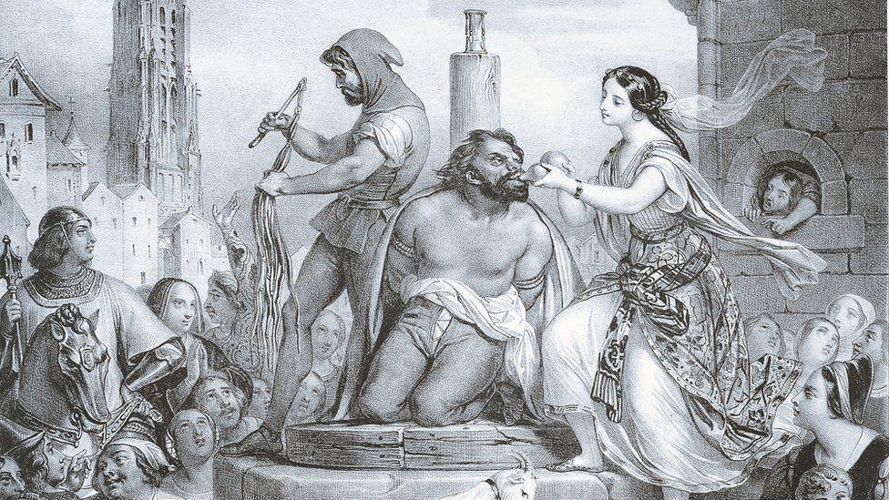 Esmeralda and Quasimodo, illustration by Eugene Deveria for the novel The Hunchback of Notre-Dame