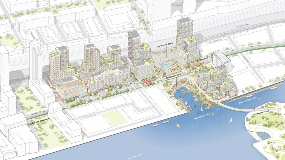 Drawing of plans showing high rises and Toronto waterfront