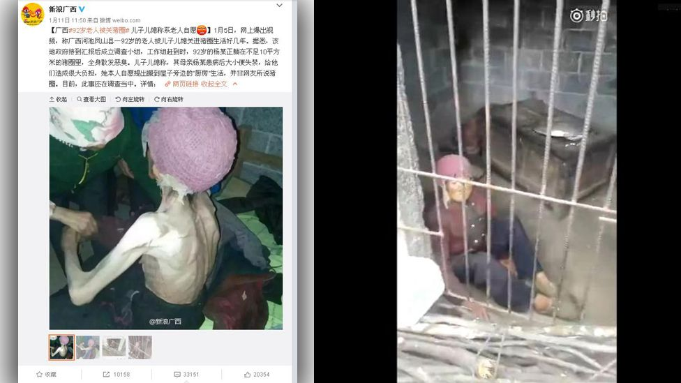 Screengrabs of Chinese social media accounts and a video showing an elderly woman locked up in a pigsty