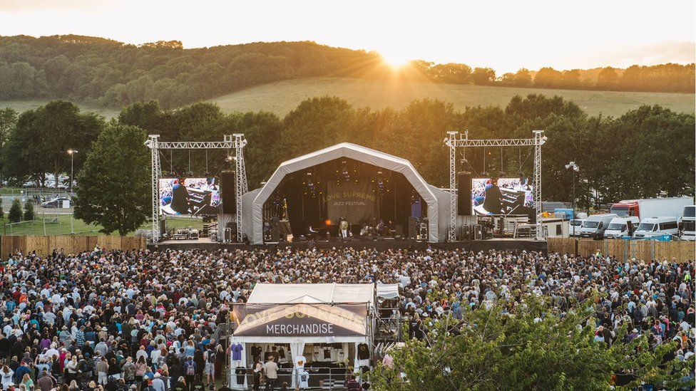A landscape shot of the Love Supreme Festival main stage and crowd