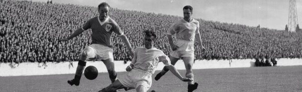 Library file picture dated 08/11/56 of Blackpool and England inside-right Stanley Matthews.