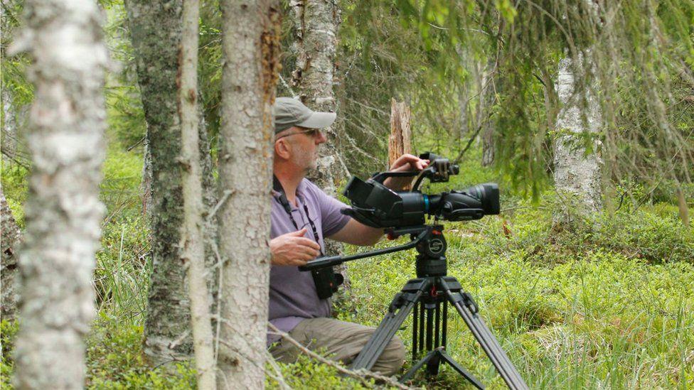 Chris Sharpe filming in Sweden
