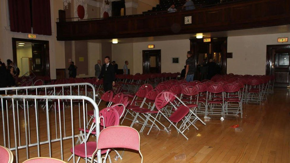 Walsall Town Hall after the disorder