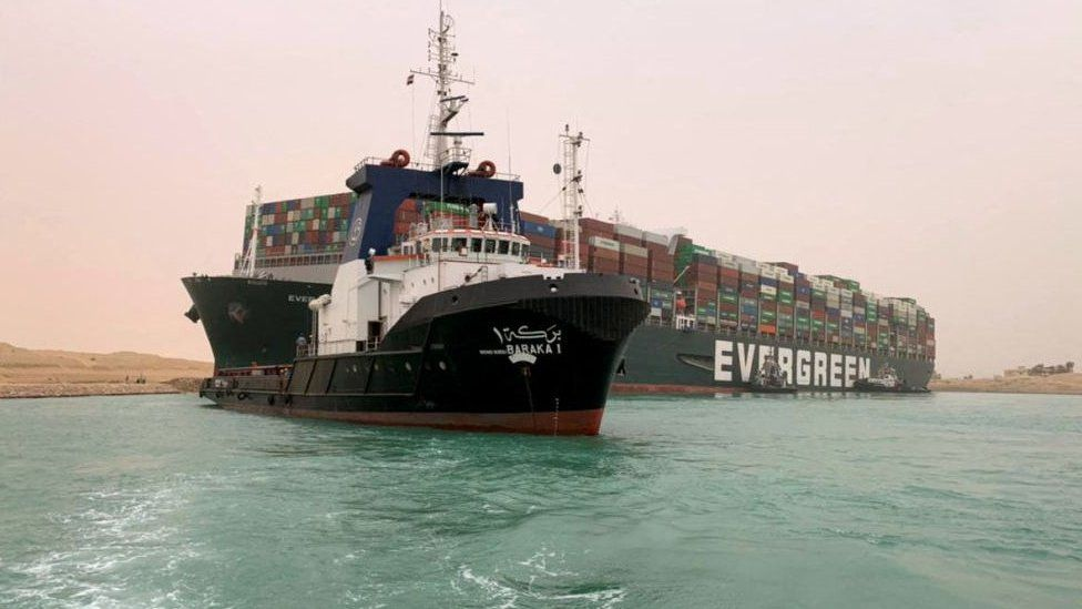 The stranded Ever Given mega-container ship in the Suez Canal.