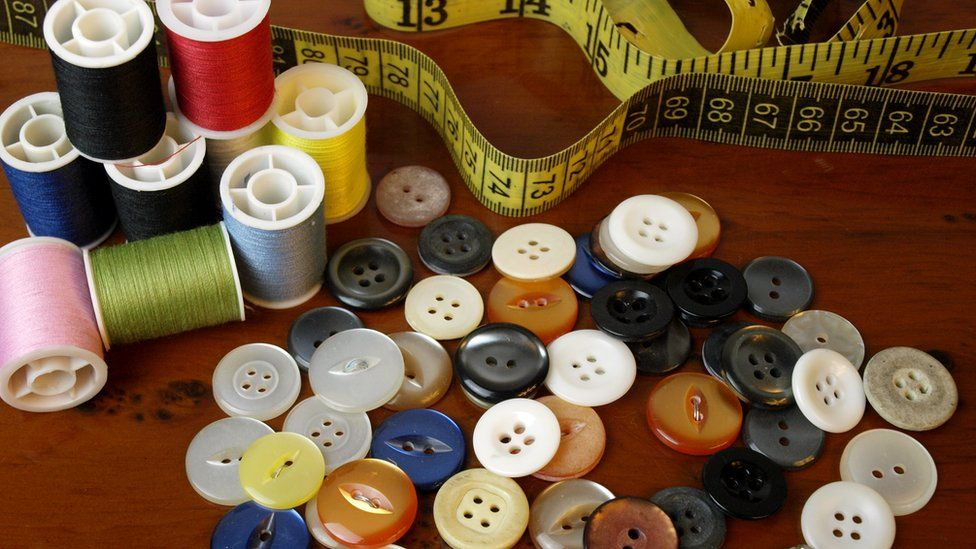 Needle thread and buttons