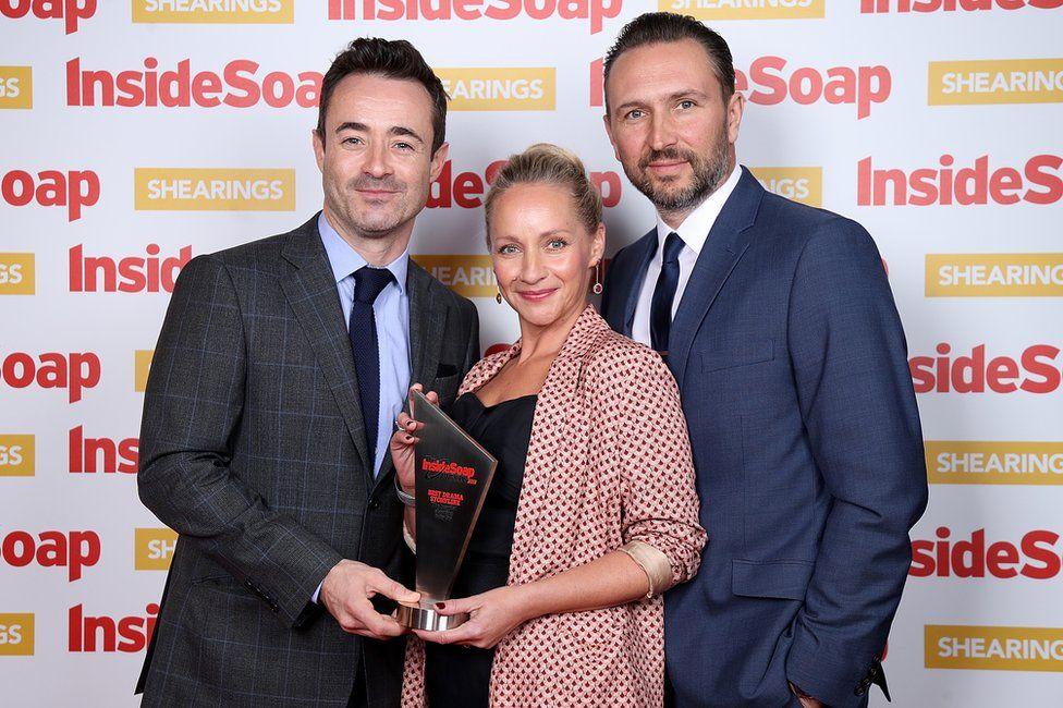 Joe McFadden, Kaye Wragg, Alex Walkinshaw at the Inside Soap Awards 2018