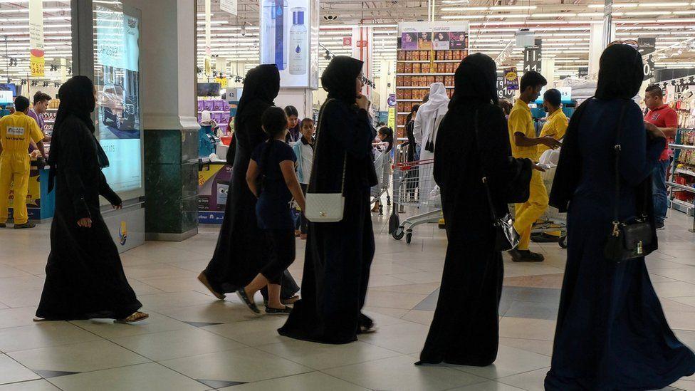 Women at a supermarket in Doha, Qatar, 6 June 2017