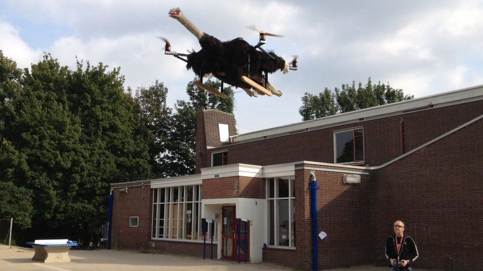 Ostrichcopter flies in the sky as controlled by its inventor Bart Jensen