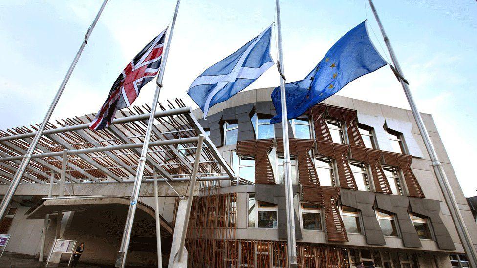 Flags outside Holyrood
