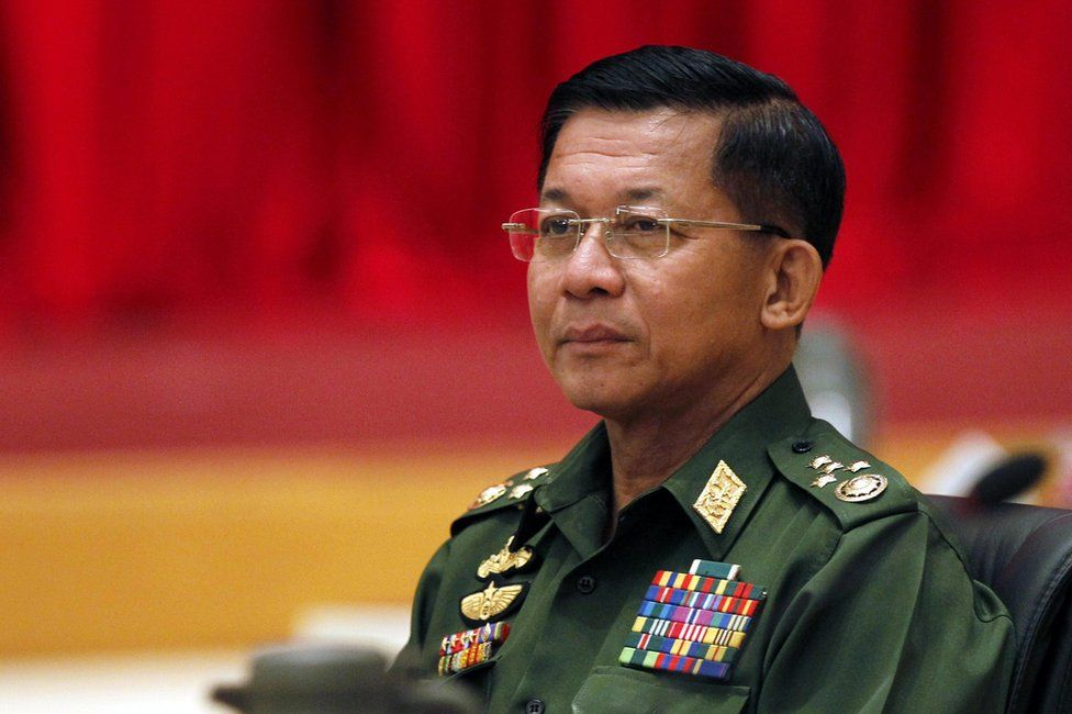 Myanmar's military commander-in-chief Senior General Min Aung Hlaing during a high-level meeting at the President's resident office in the capital Naypyitaw, Myanmar, 31 October 2014.