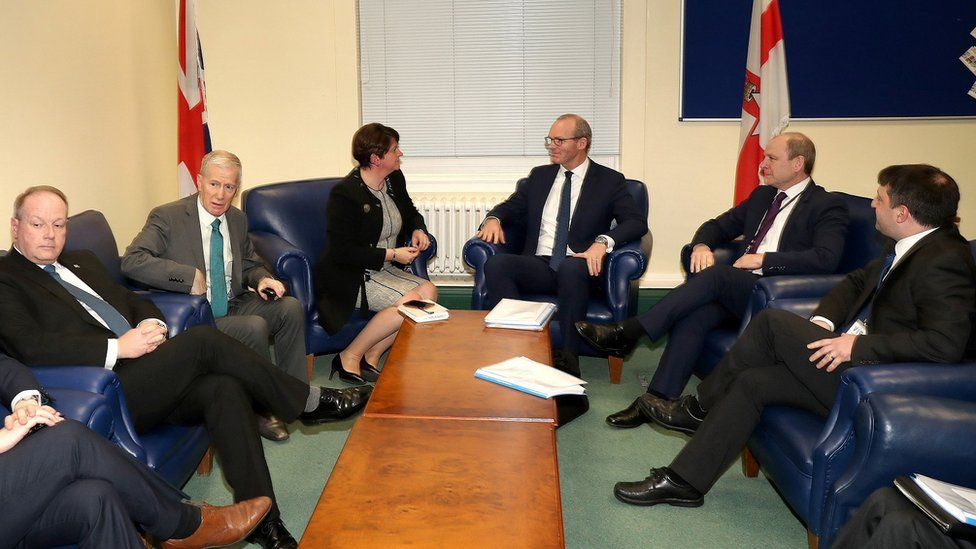 Arlene Foster and Simon Coveney meeting in Belfast