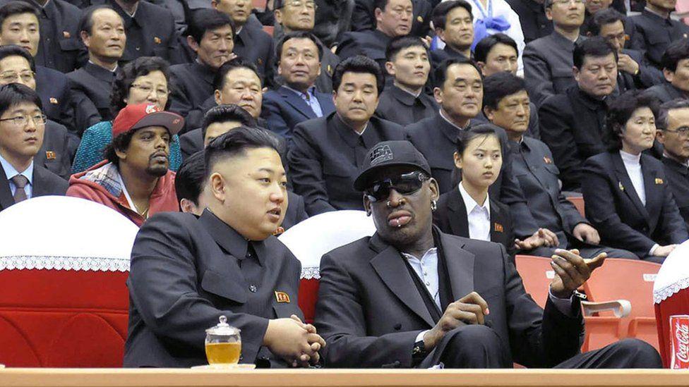 North Korean leader Kim Jong-Un and Dennis Rodman watching a basketball game in Pyongyang in 2013