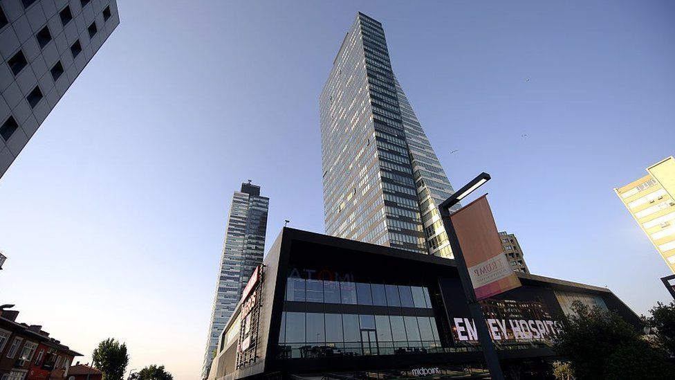 A photo taken on July 30, 2015 shows the Trump Towers building in Istanbul.