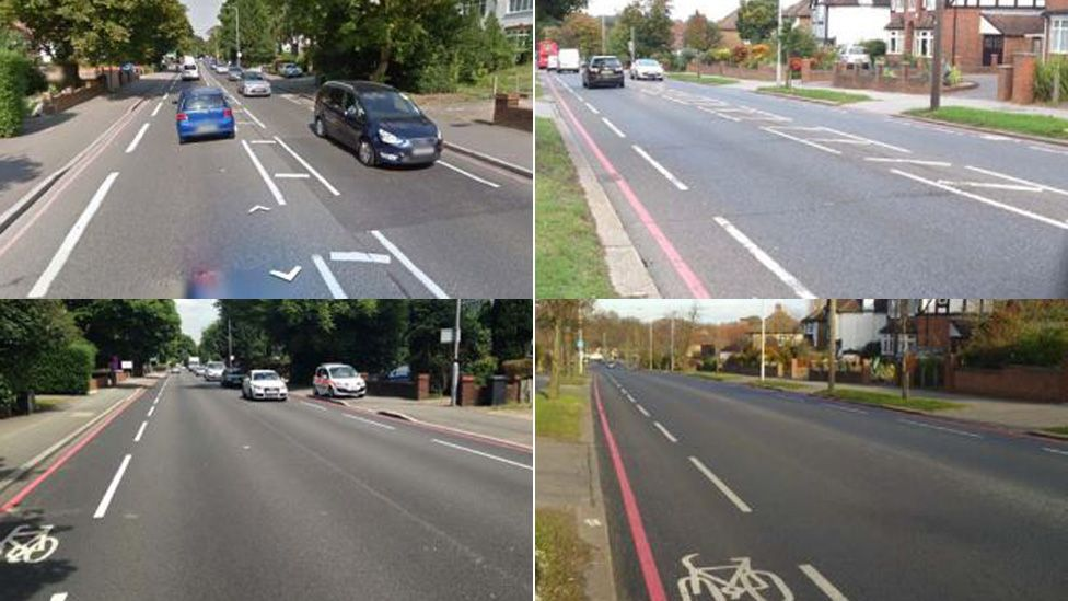 Before and after photographs of the roads with and without white central lines