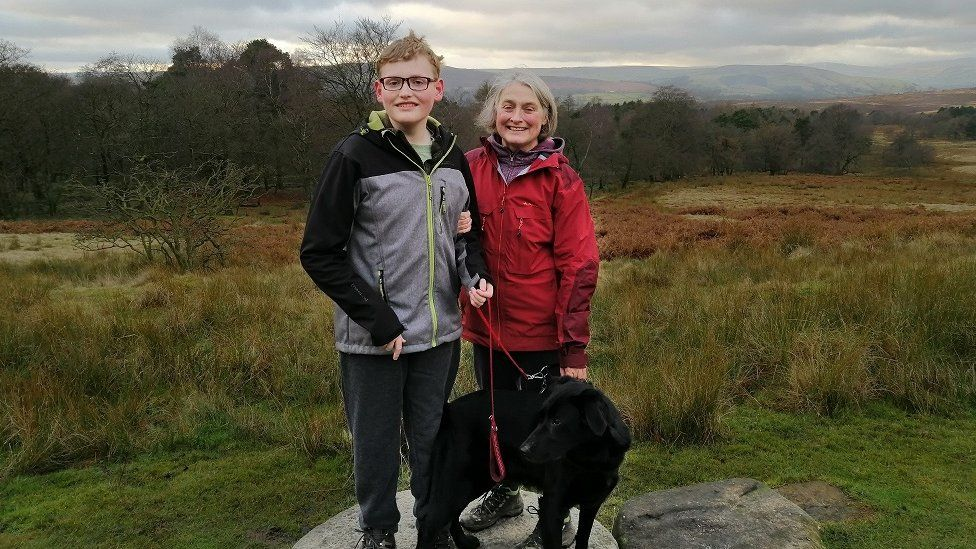 James and his mother Anne with their dog