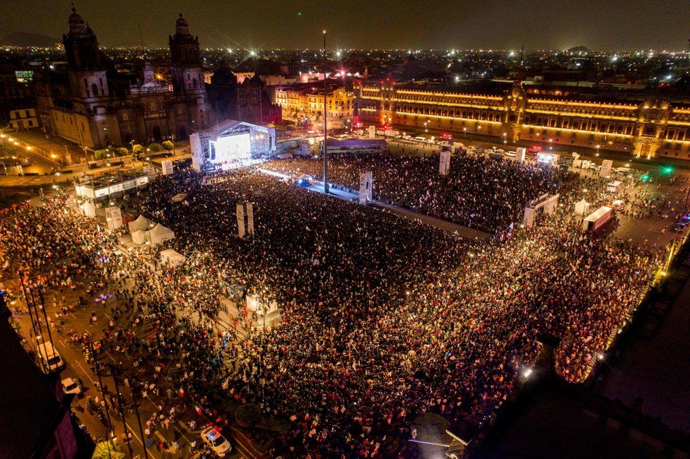 Celebrations on Zocalo square in Mexico City, 2 July