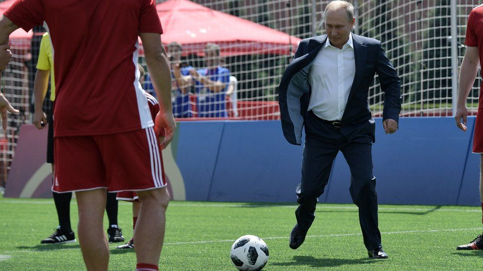 Vladimir Putin visits a football park in Red Square on 28 June