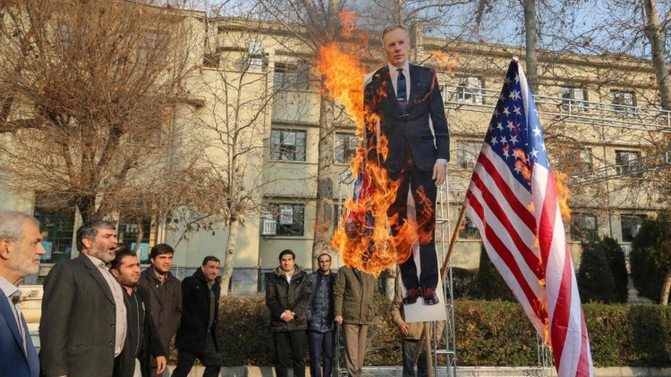"Cut-out of Britain""s ambassador to Iran Rob Macaire being bured in Tehran, 14 Jan"