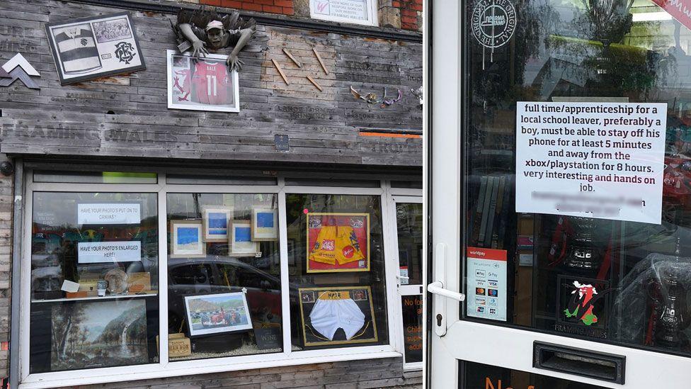Shop exterior and job advert