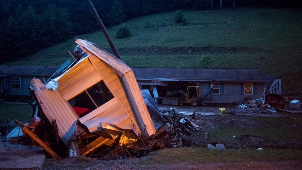 A knocked over trailer in Elkview, West Virginia, after 2016's historic floods