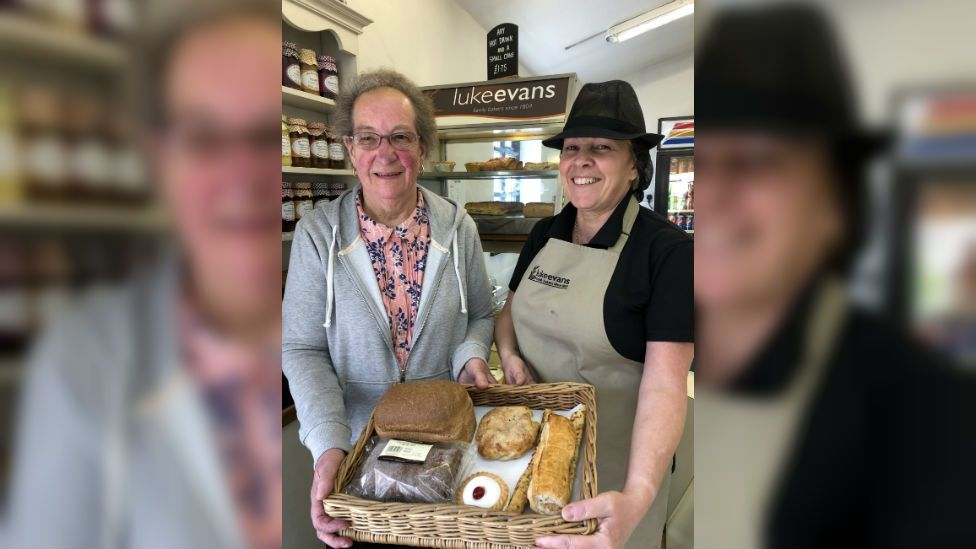 Eileen Hibbert with bakery shop manageress Michelle Lowde