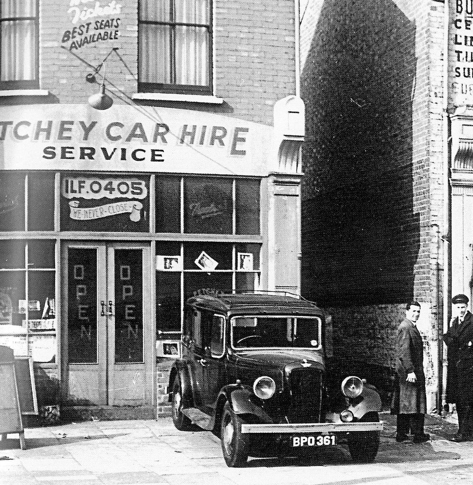 Jack Petchey's first car hire office in Manor Park, East London