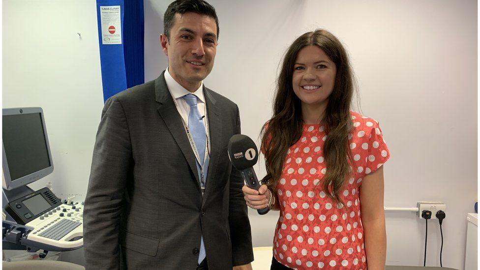 Consultant Neurologist Giorgio Lambru and Newsbeat reporter Shiona McCallum