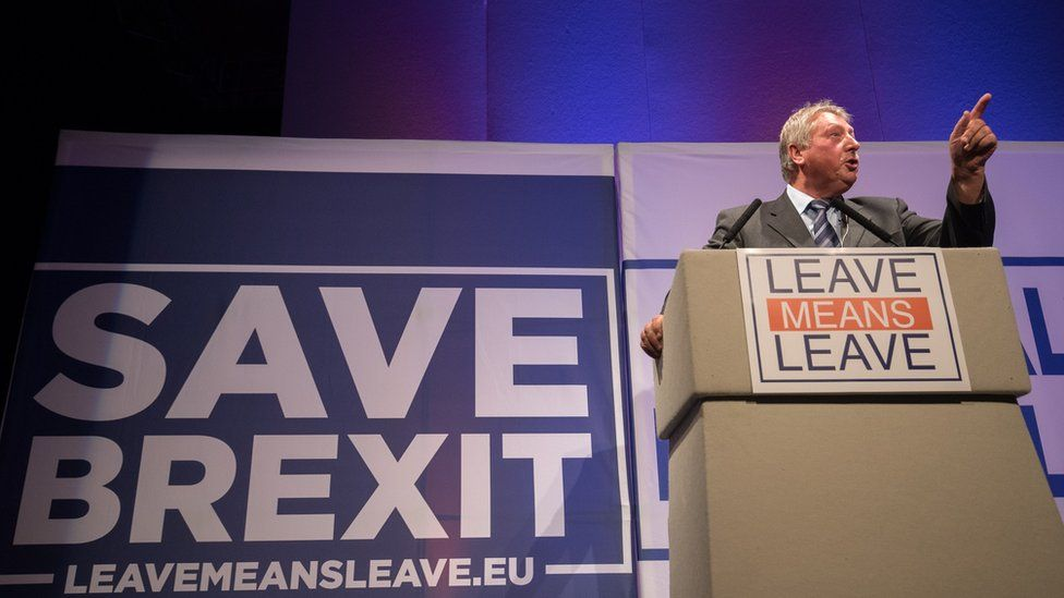 Sammy Wilson speaking at a Brexit event in October