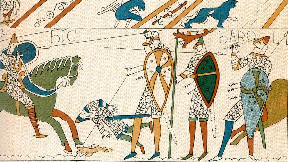 The Bayeux Tapestry depicting the death of King Harold in the Battle of Hastings
