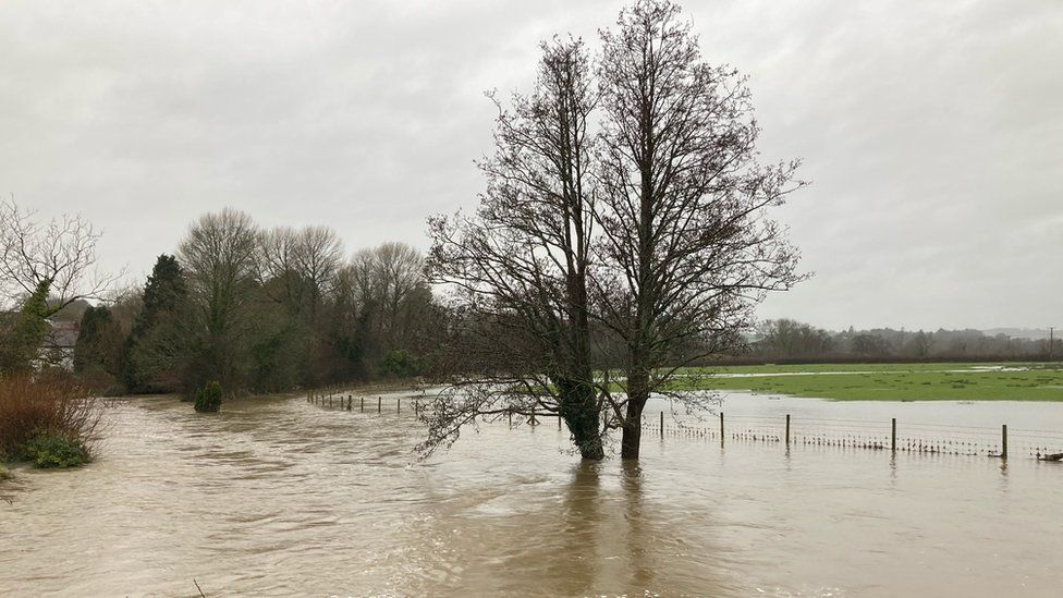 The River Cynin bursts its banks at St Clears
