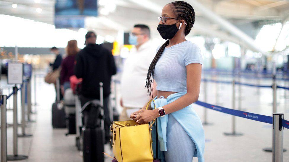 Woman at Heathrow Airport