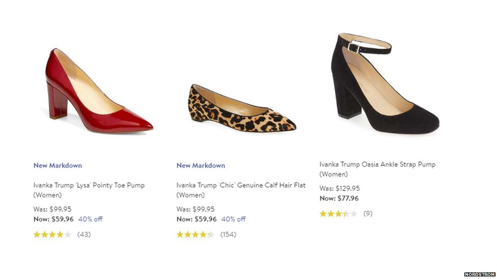 Ivanka's shoes on the Nordstrom website