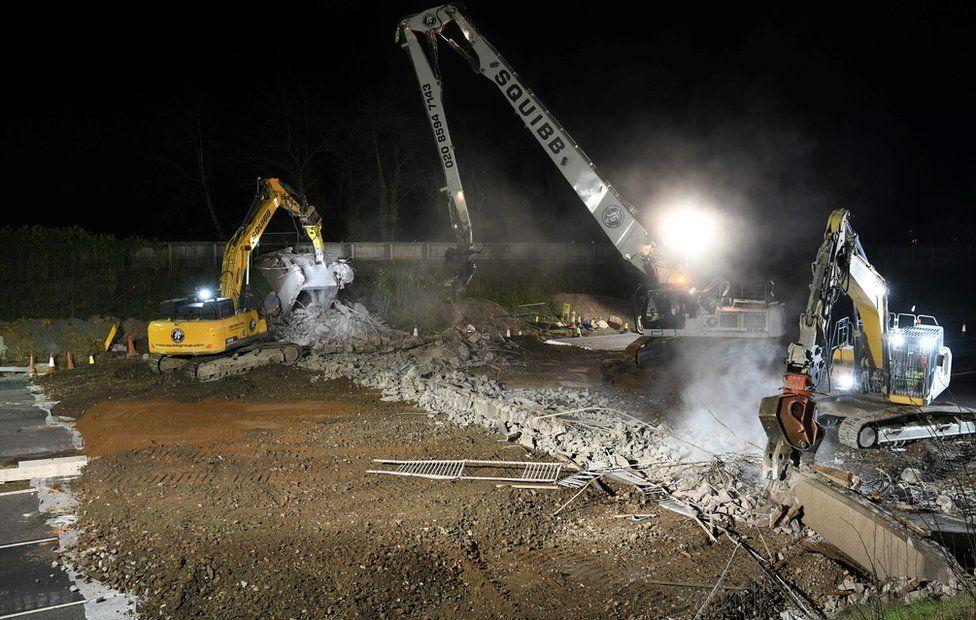 The demolished bridge