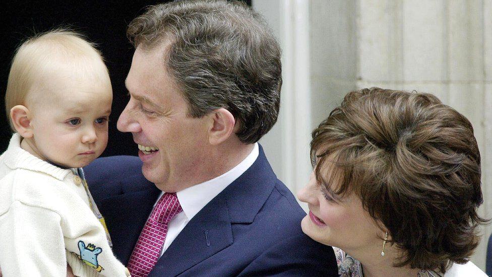 Leo Blair with Tony and Cherie Blair