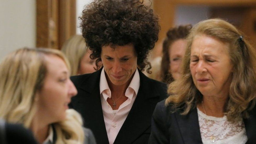 """Accuser Andrea Constand reacts after leaving the courtroom following deliberations in Bill Cosby""""s sexual assault trial at the Montgomery County Courthouse in Norristown, Pennsylvania, US, 16 June 2017."""
