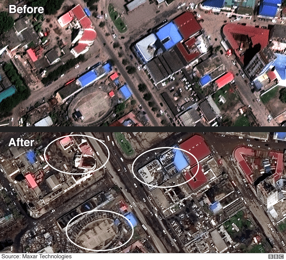 Before and after images of downtown Beira showing many buildings have lost their roofs