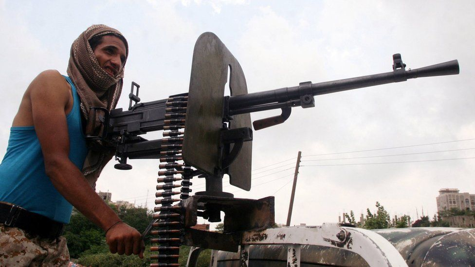 A pro-government fighter in Yemen